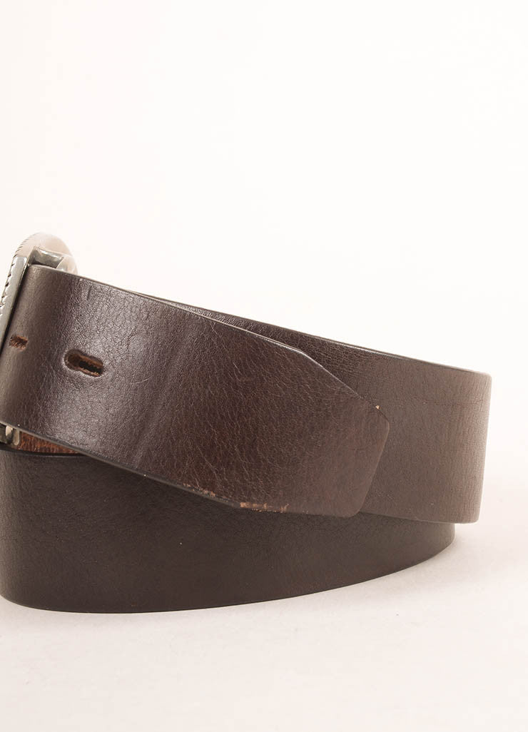 Lucien Pellat-Finet Brown and Black Leather Skull Buckle Belt Detail 2