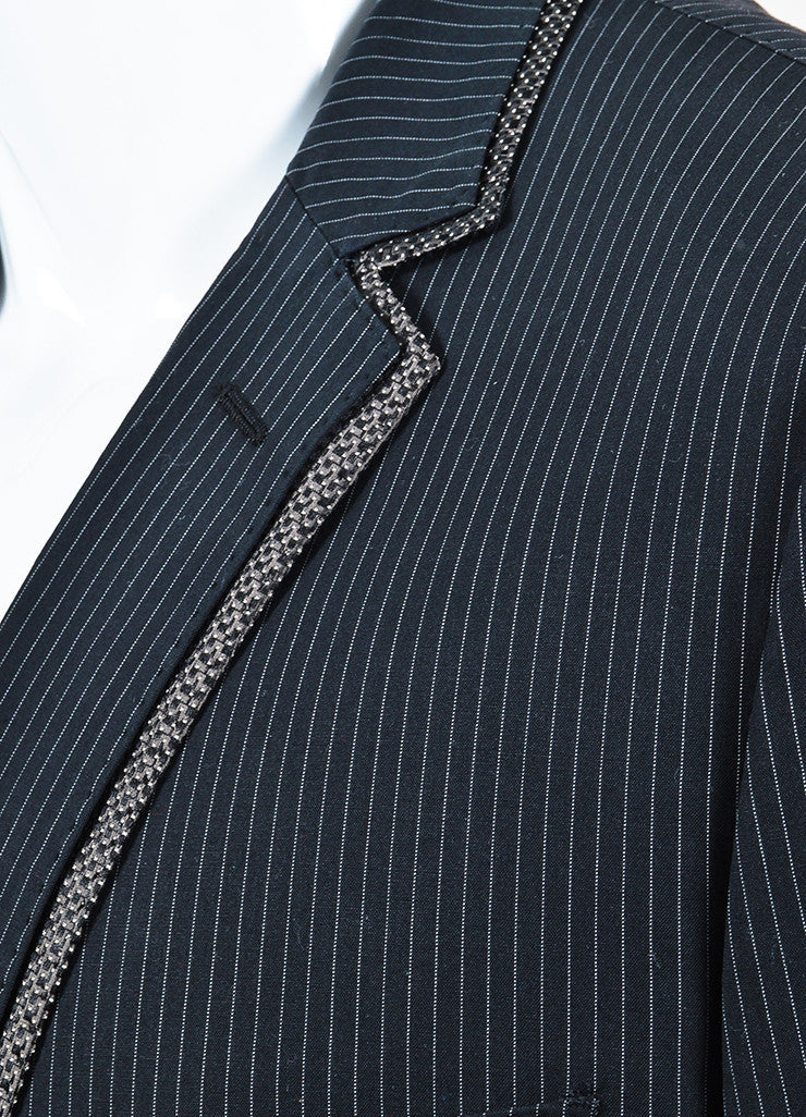 Men's Dolce & Gabbana Black Gray Cotton Pinstripe Dot Blazer Detail