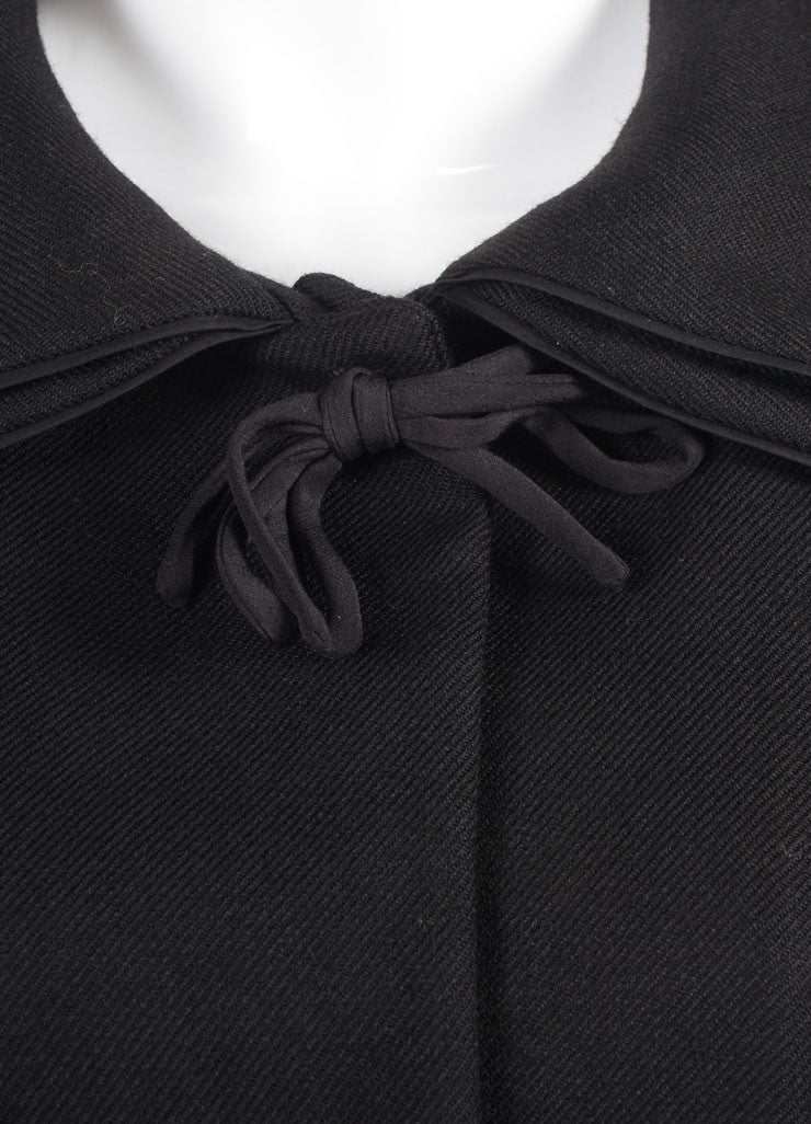 Marni Black Wool Bow Tie Cropped Long Sleeve Jacket Detail