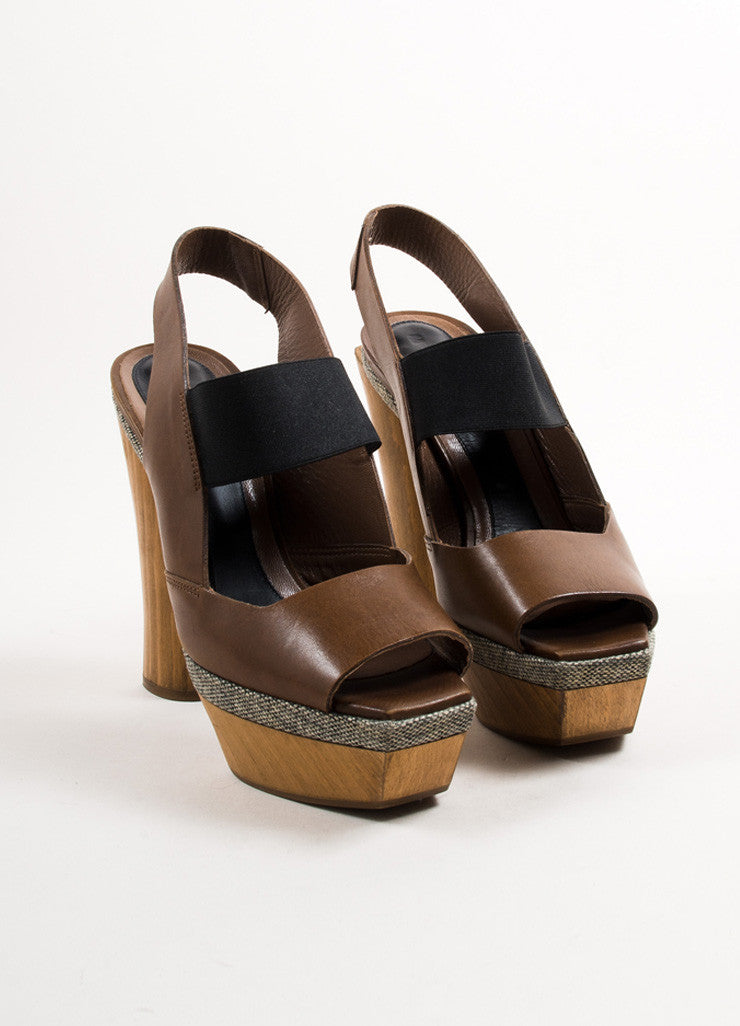 Marni Brown and Grey Leather and Tweed Wood Heel Platform Slingback Sandals Frontview