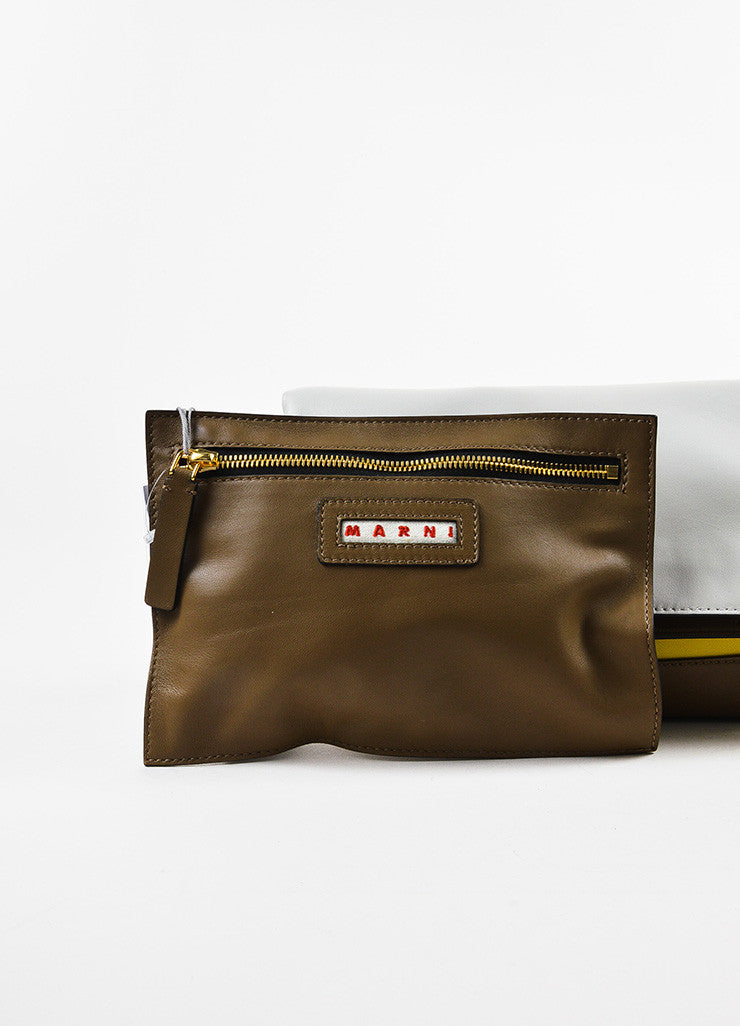 "Marni Yellow, Brown, and Grey Leather Colorblock ""Pod"" Fold Over Clutch Bag Pouch"