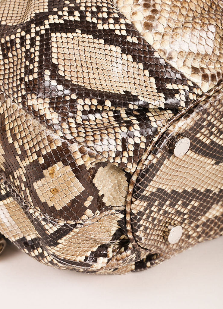 "Michael Kors Brown and Taupe Python ""Tonne"" Handbag Detail"