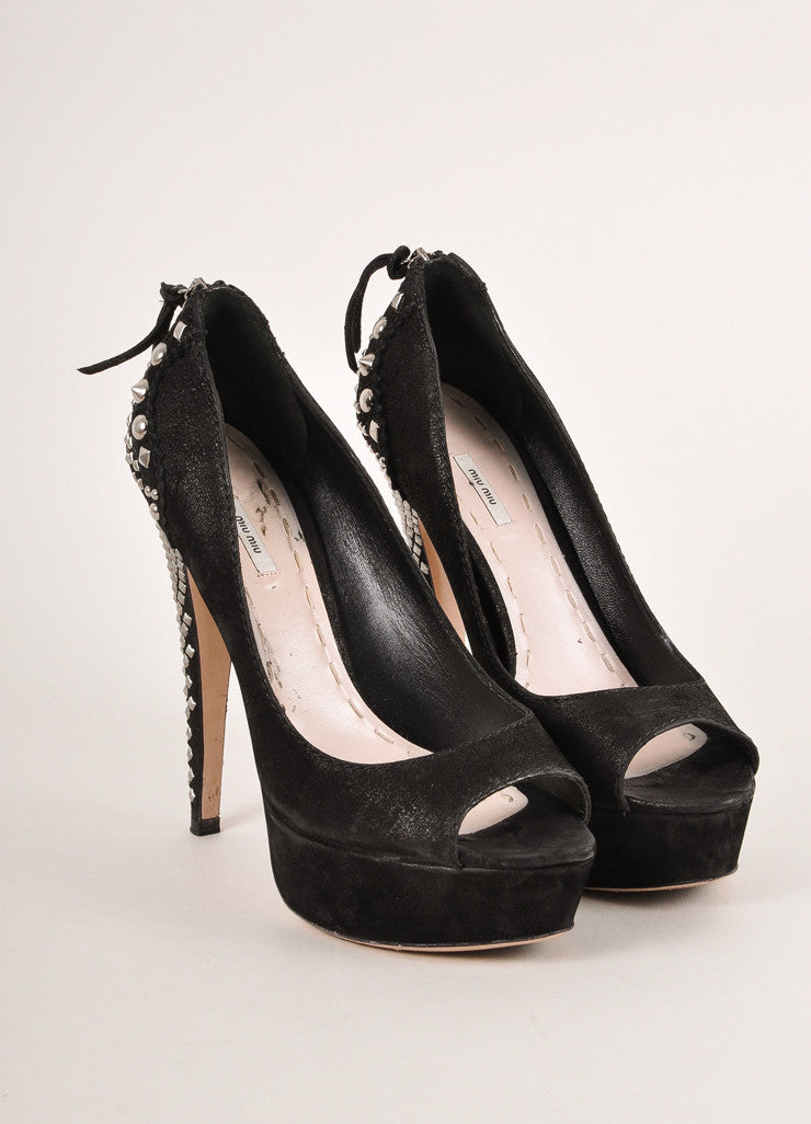 Miu Miu Black and Silver Suede Studded Peep Toe Platform Pumps Frontview