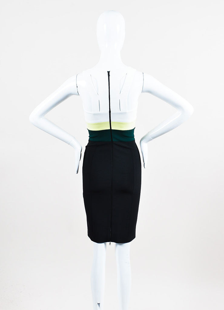 Black, White, and Green Narciso Rodriguez Stripe Sleeveless Sheath Dress Backview
