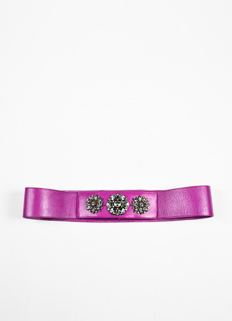 Oscar de la Renta Purple and Gunmetal Grey Rhinestone Gem Trim Leather Belt Frontview