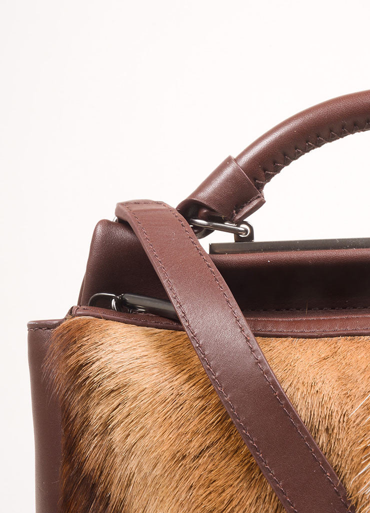 "3.1 Phillip Lim Brown Leather and Springbok Antelope Fur Small ""Ryder"" Satchel Bag Detail 2"