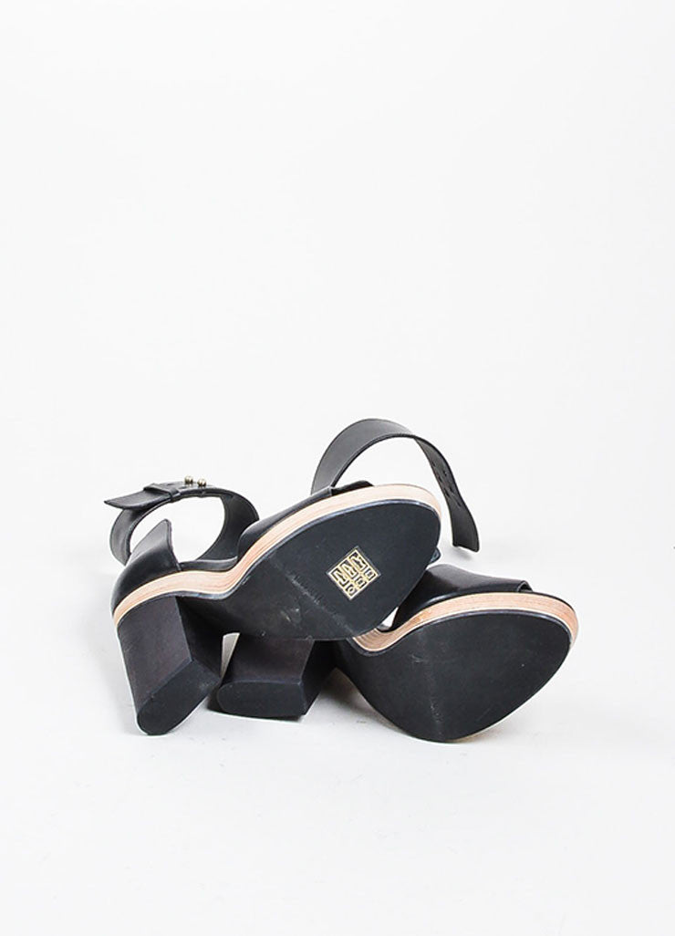Pierre Hardy Black Leather Wooden Block Heel Sandals Outsoles