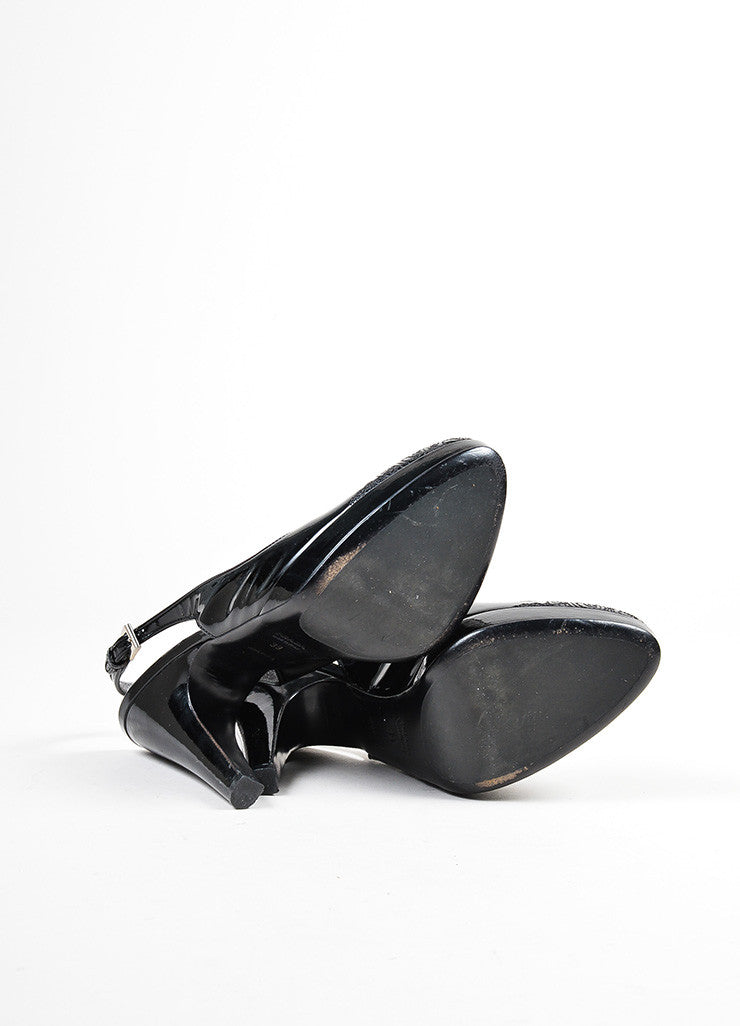 Black Prada Patent Embroidered Filigree Toe Slingback Heels Outsoles