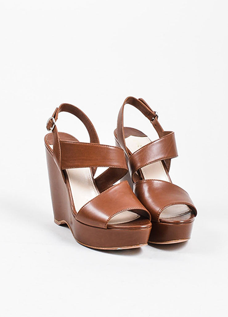 Brown Prada Leather Asymmetrical Strap Wedge Heel Sandals Frontview