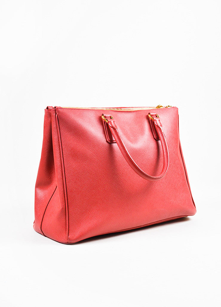 "Prada Red Saffiano Lux Leather ""Medium Executive Tote"" Handbag Sideview"