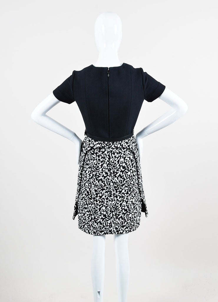 Black and White Proenza Schouler Crepe Boucle Belted Short Sleeve Dress Backview