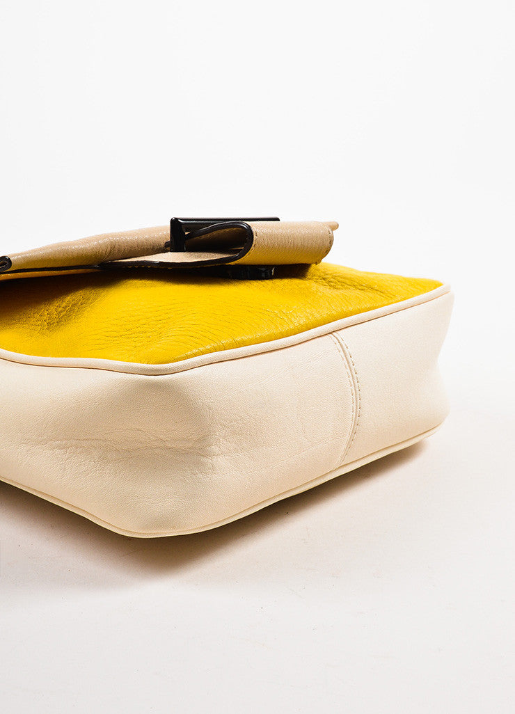 Reed Krakoff Cream, Yellow, and Taupe Leather Color Block Cross Body Bag Bottom View