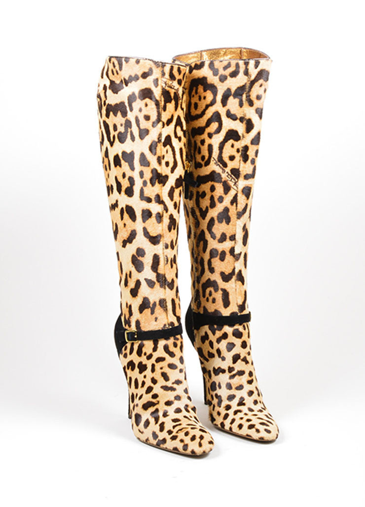 Tan and Black Roberto Cavalli Leopard Ponyhair Knee High Heeled Boots Frontview