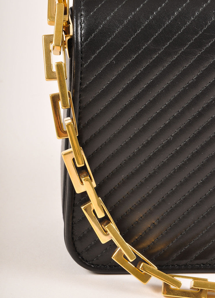 "Saint Laurent New With Tags Black Leather and Gold Toned ""Babylone"" Small Shoulder Bag Detail 2"