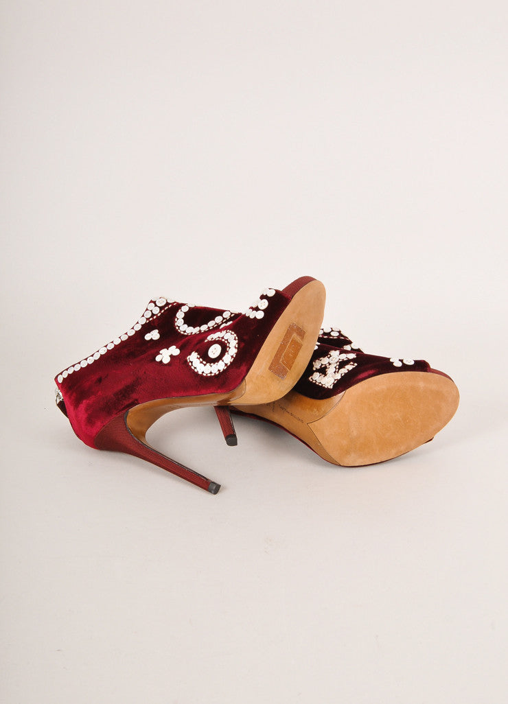 Tabitha Simmons Red Pearl Button Detail Velvet Peep Toe Ankle Booties Outsoles
