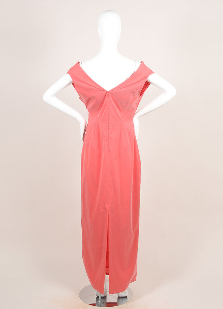 Talbot Runhof Coral Pink Silk Blend Taffeta Crossover Bust Sleeveless Gown Backview