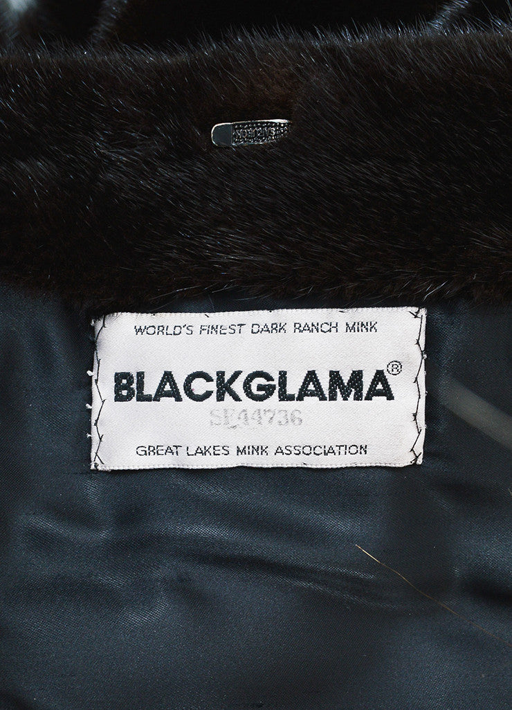 Dark Blackglama Brown Mink Fur Long Sleeve Coat Brand