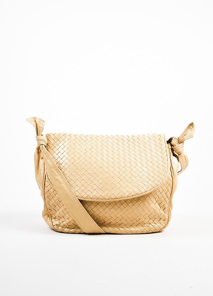 Bottega Veneta Cream Woven Leather Saddle Bag Frontview
