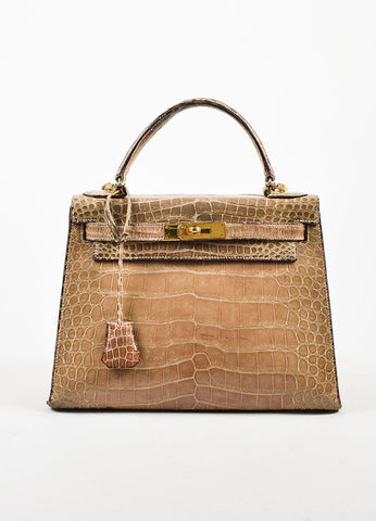 "Hermes Taupe Crocodile Leather Gold Hardware ""Kelly 28"" Handbag Frontview"