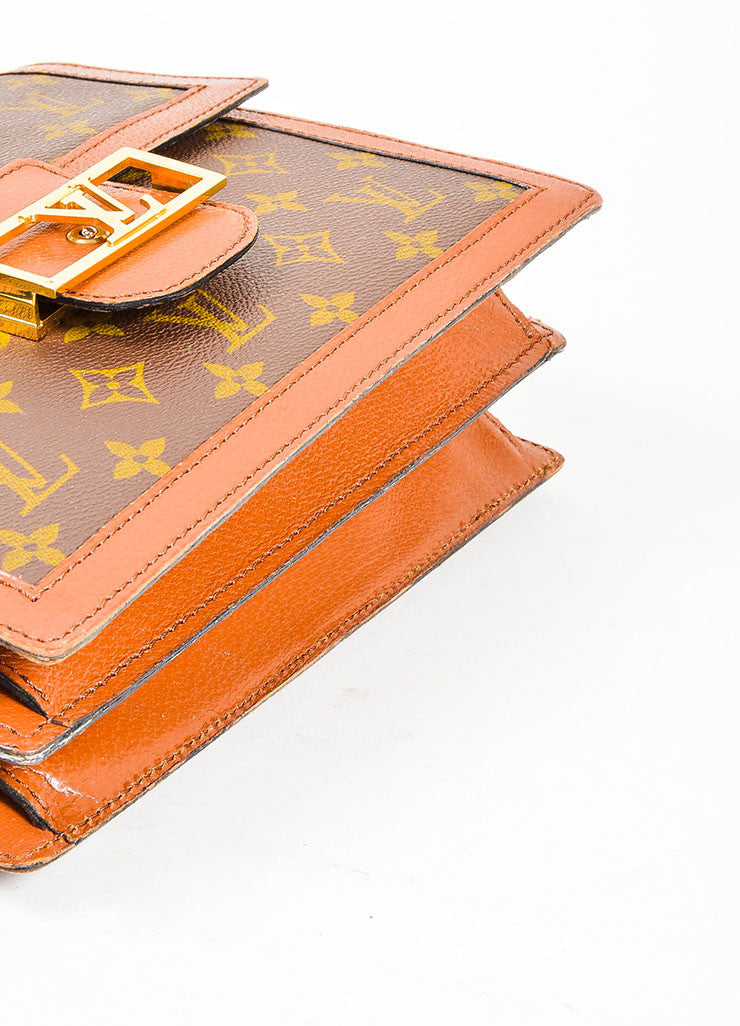 Brown Monogram Canvas Louis Vuitton 'LV' Buckle Shoulder Bag Bottom View