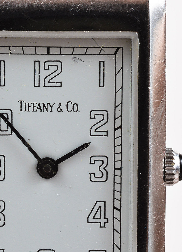Tiffany & Co. Black Leather Quartz & Stainless Steel Rectangular Watch Detail