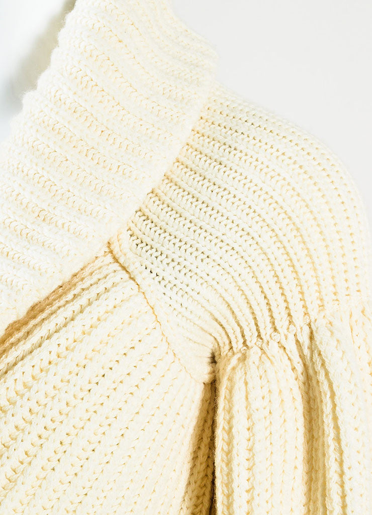 Valentino Cream Cashmere and Wool Knit Puff Sleeve Shrug Sweater Detail