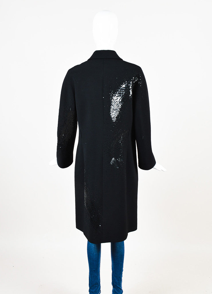 Valentino Roma Black Wool Feather Sequin Embellished Coat Backview