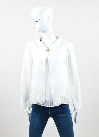 White Valentino Lace Trim Scalloped Cropped Button Jacket Frontview