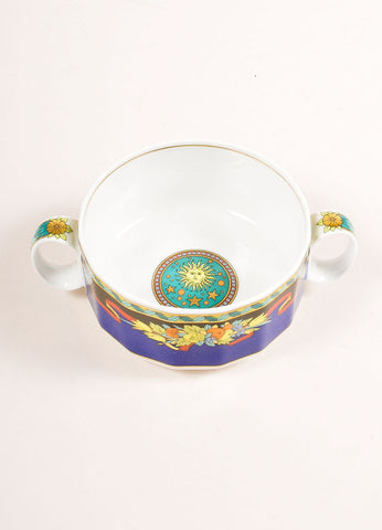 "Versace Rosenthal Blue and Multicolor ""Le Roi Soleil"" Small Soup Cup Topview"