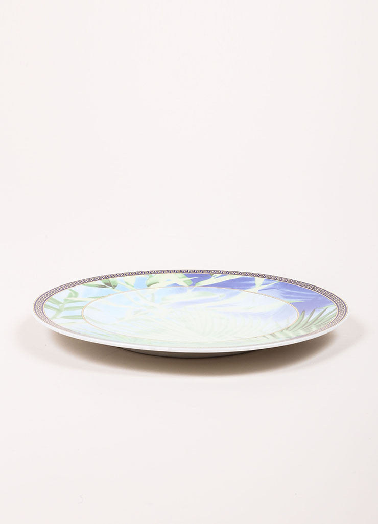 "Versace Rosenthal Green and Blue ""Jungle"" 7 inch Bread and Butter Plate Sideview"