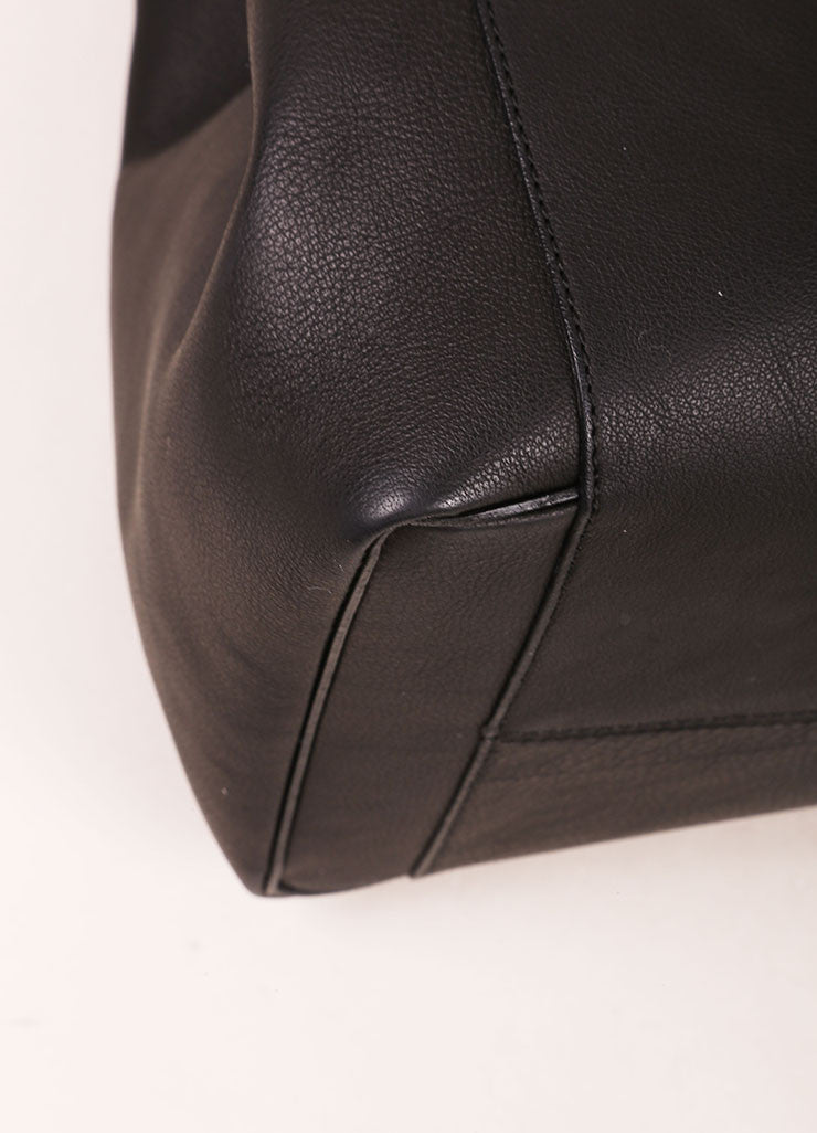 "Victoria Beckham Black Matte Grained Leather ""Liberty"" Tote Bag Detail"