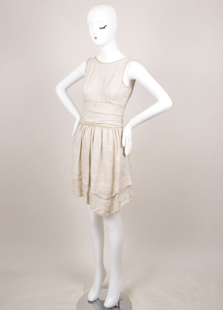 Fendi Tan Textured Pleated Ruched Sleeveless Dress Sideview