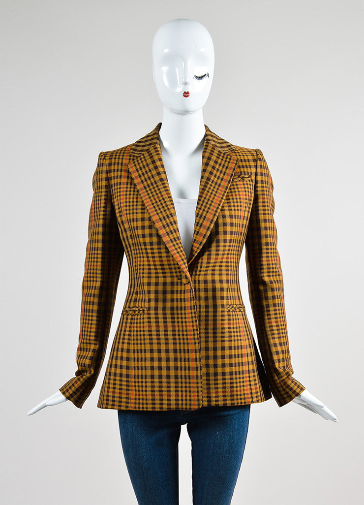"Tan and Brown Altuzarra Wool Plaid ""Acacia"" Blazer Jacket"