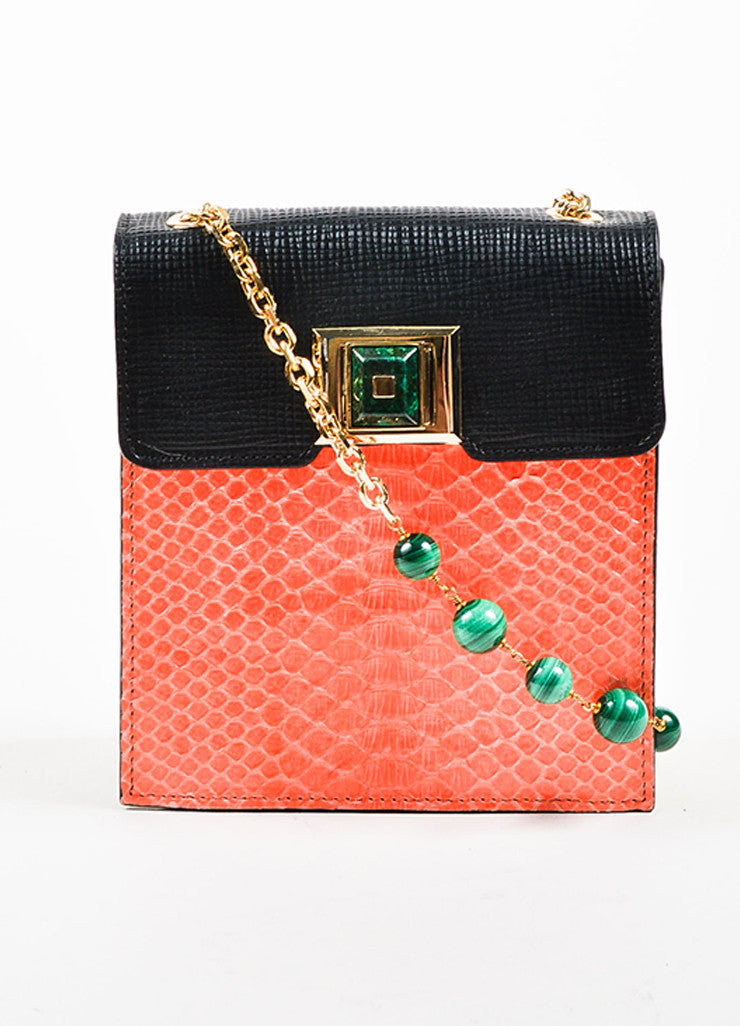 "Coral, Black, and Green Andrew Gn ""Chryscolla"" Python Leather Bag Frontview"