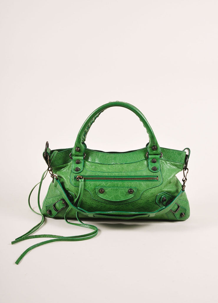 "Balenciaga Green Crinkle Leather Classic ""First"" Two Way Moto Shoulder Bag Frontview"