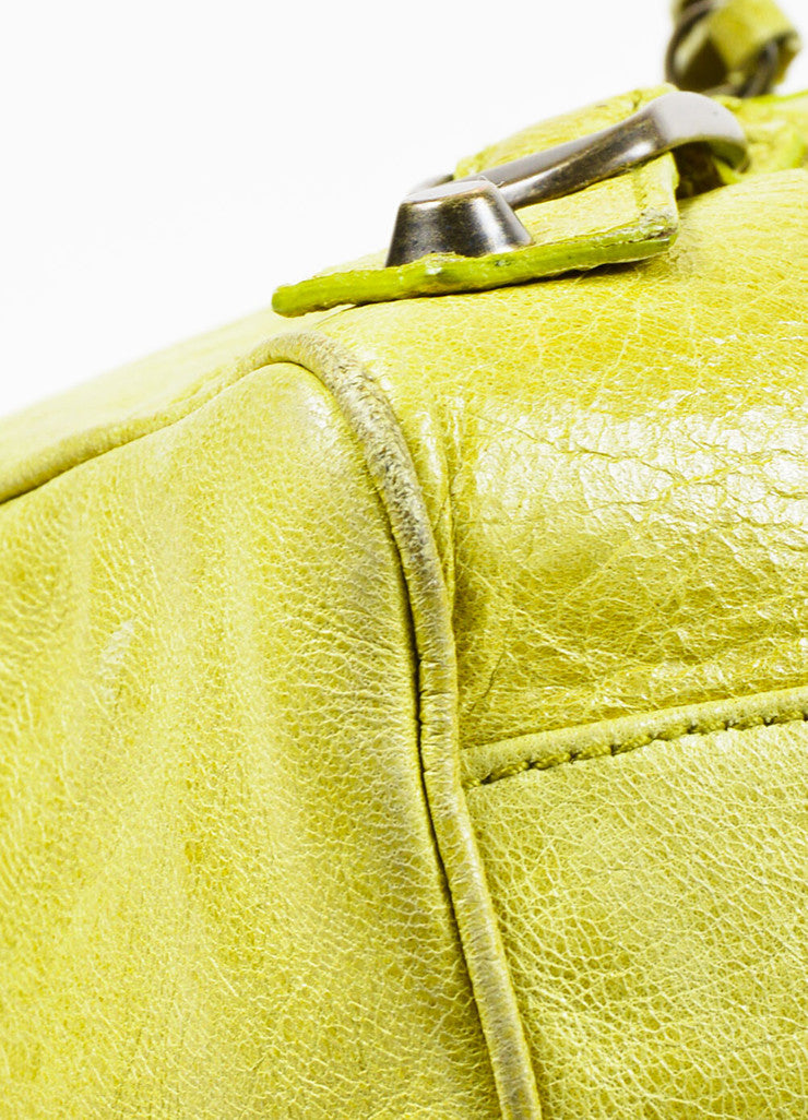 Lime Green Balenciaga Leather Pompon Studded Twiggy Bag Detail 2