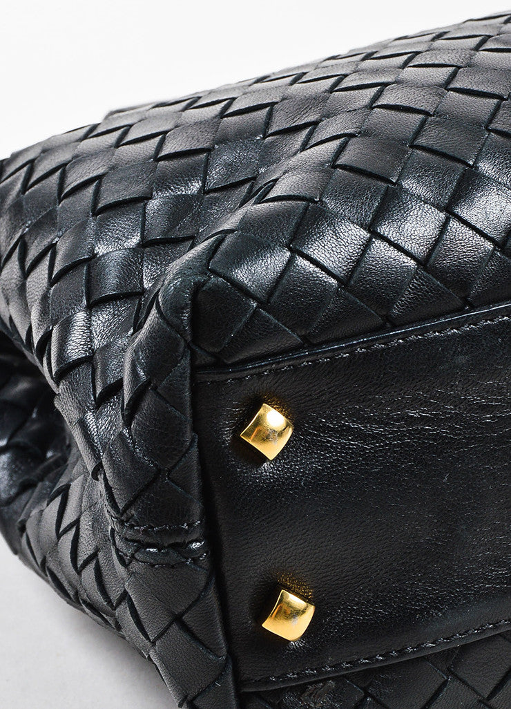 Bottega Veneta Black Leather Intrecciato Woven Handbag Detail