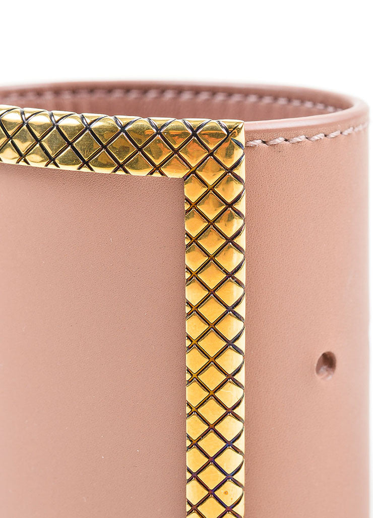 Pink and Gold Toned Bottega Veneta Quilted Metal Leather Cuff Bracelet Detail