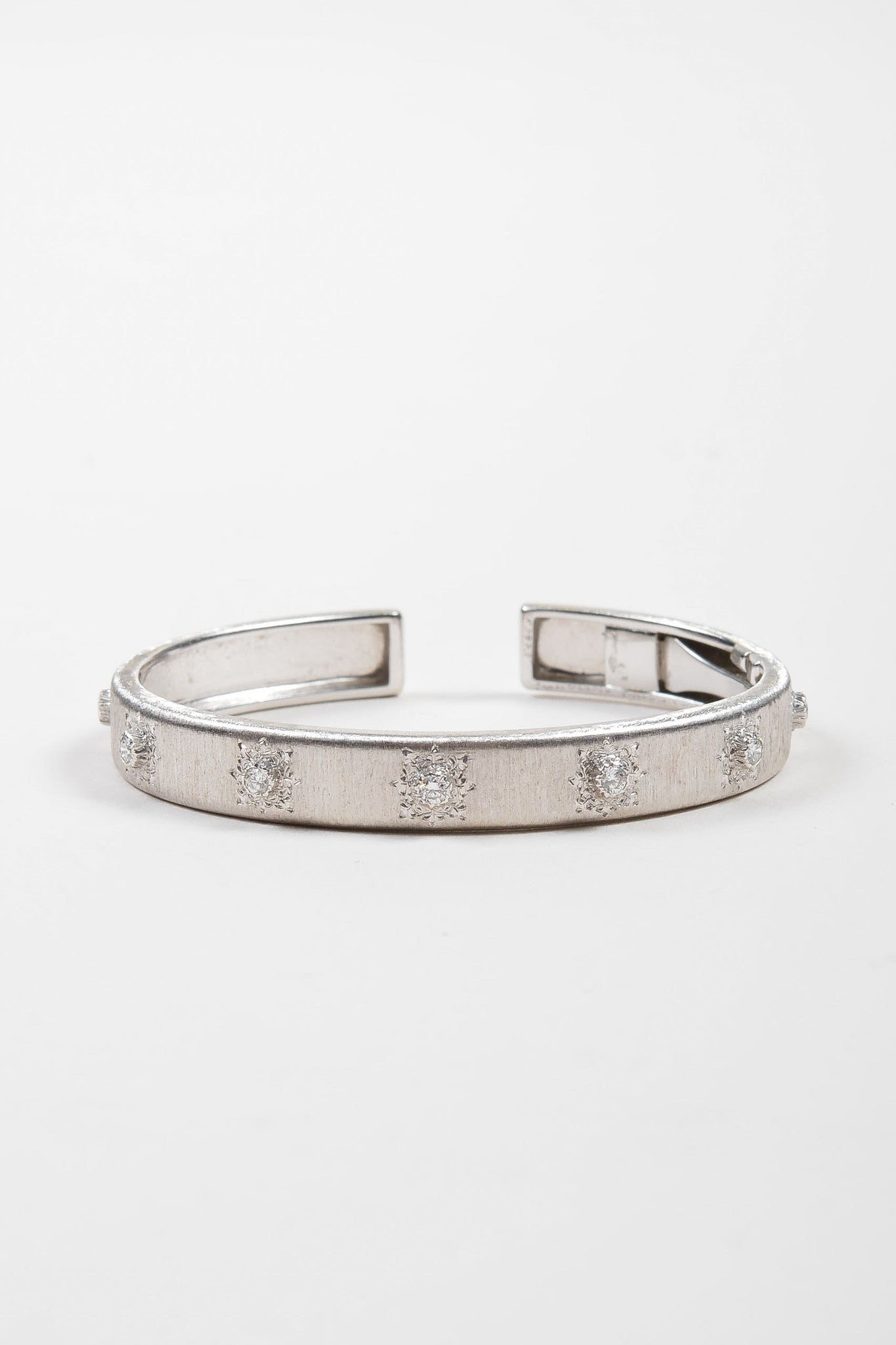 "18K White Gold and Diamond Station Small Buccellati 18K White Gold Diamond Station Small ""Classica"" Cuff Bracelet ""Classica"" Cuff Bracelet Frontview"