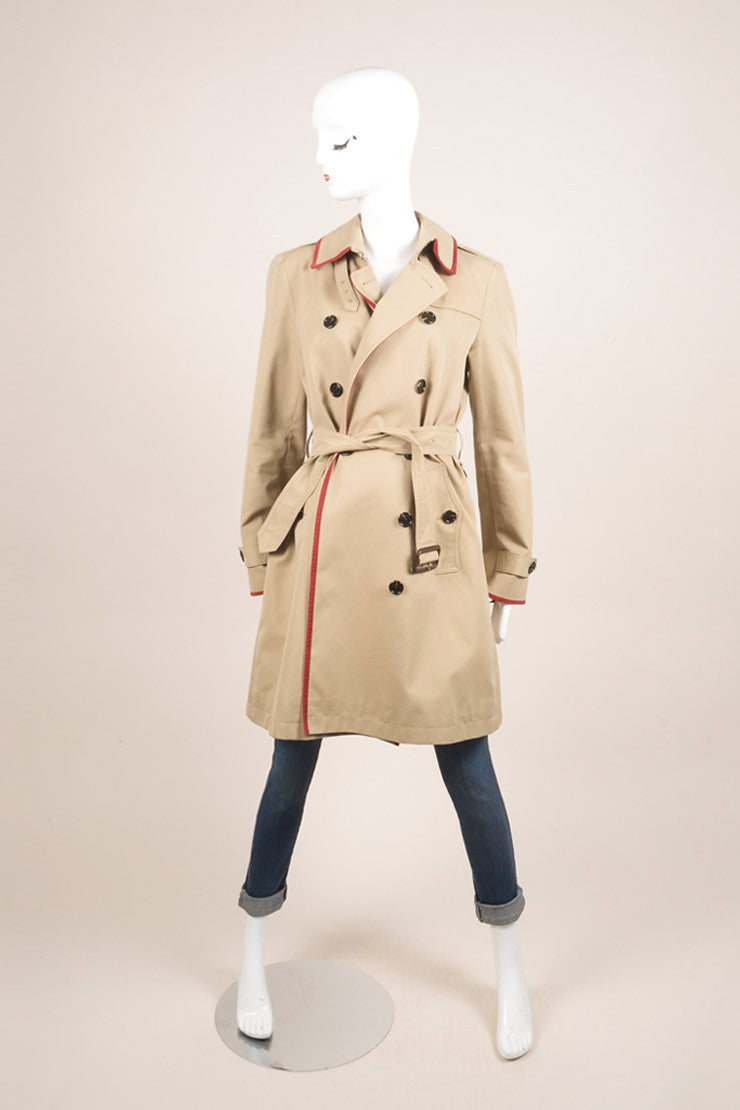 Burberry Brit Tan Belted Trench Coat Frontview