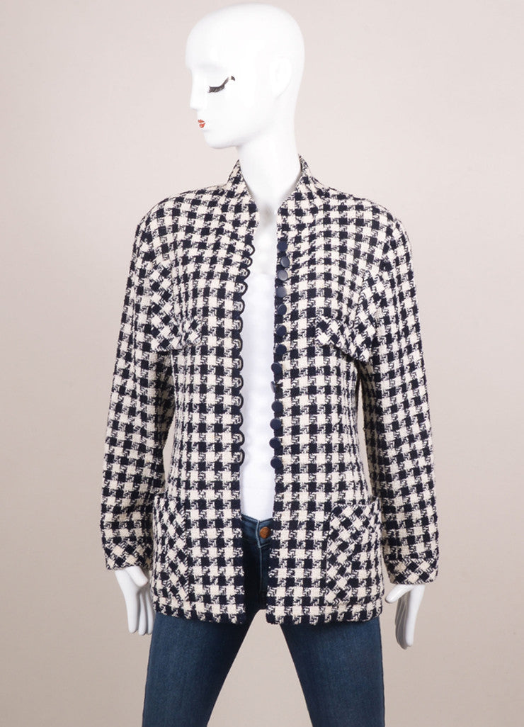 Chanel Navy and Cream Woven Check Button Up Jacket Frontview