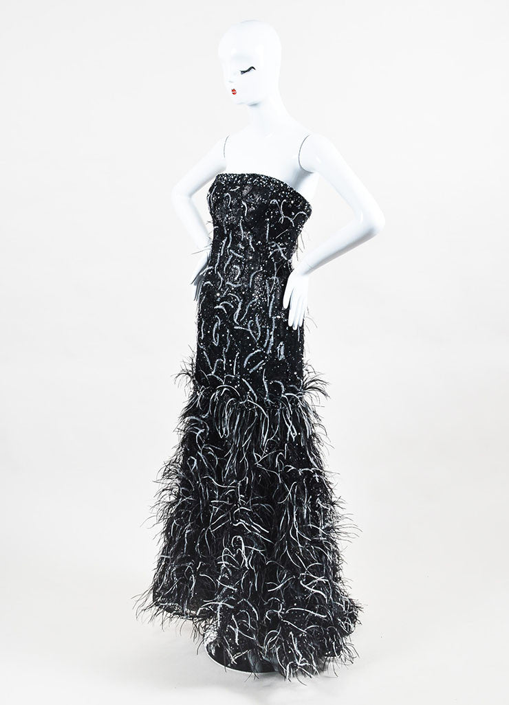 Carolina Herrera Black and Gunmetal Jacquard Sequin Feather Strapless Gown Sideview