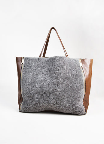 "Celine Brown Leather Gray ""Shearling Horizontal Cabas Tote"" Bag front"