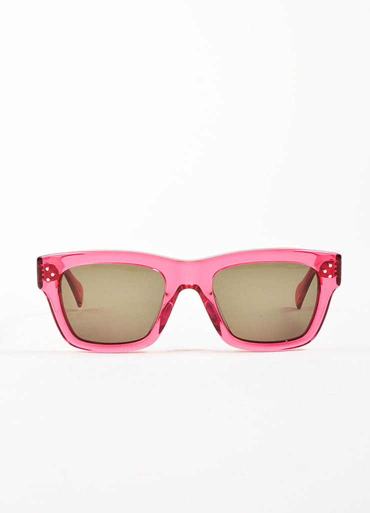 "Celine Hot Pink Translucent Square Frame ""CL 41732"" Sunglasses Frontview"