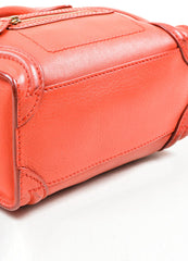 """Lipstick"" Red Celine Leather ""Nano Shopper"" Crossbody Tote Bag Bottom View"
