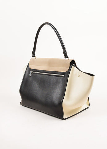 "Celine Taupe, Black, and Cream Leather ""Medium Trapeze"" Color Block Tote Bag Sideview"