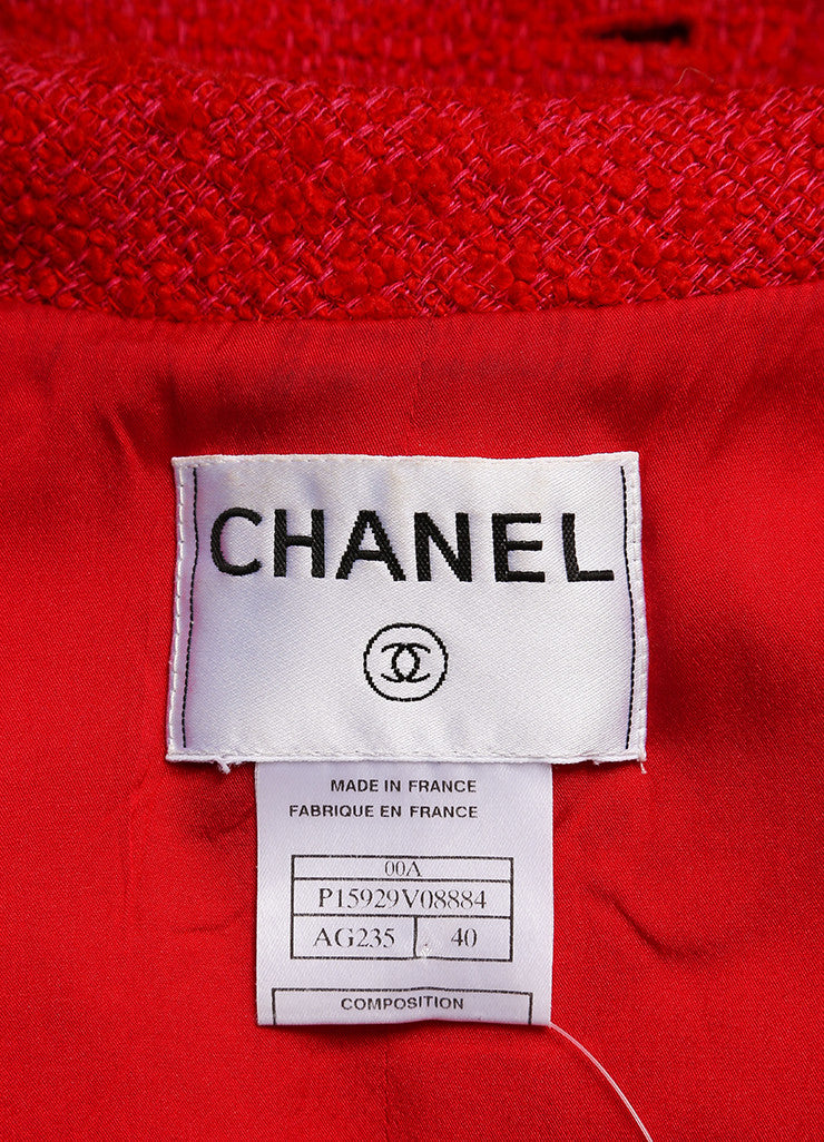 Chanel Red and Pink Wool Tweed Woven Knit Long Sleeve Jacket Brand