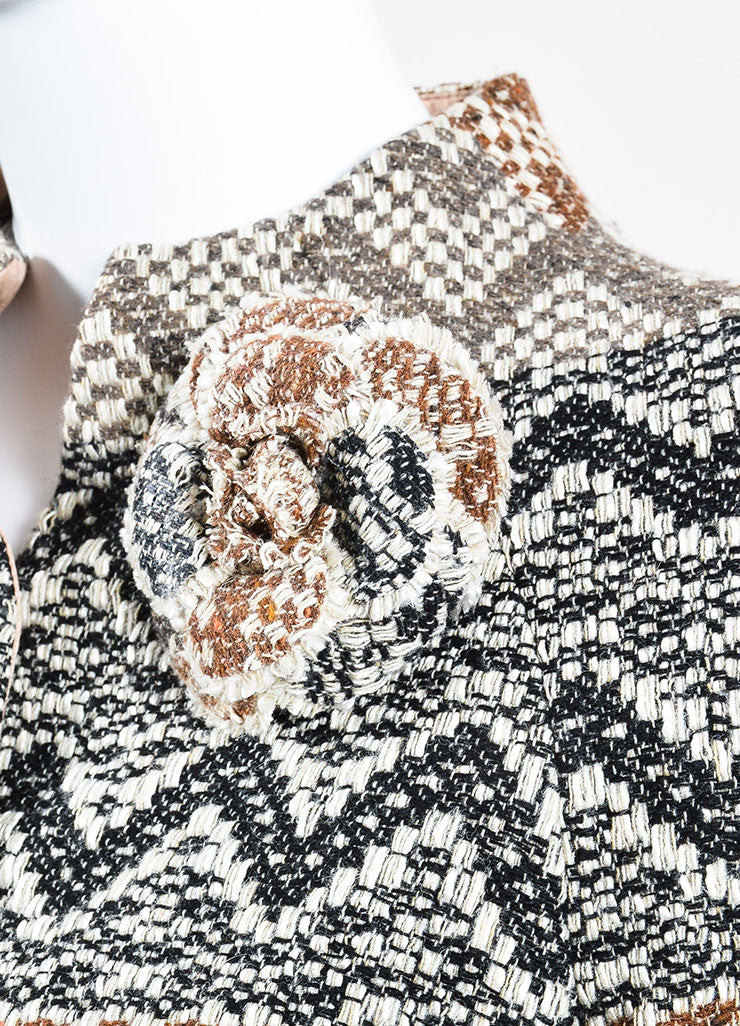 Brown and Cream Chanel Wool Tweed Chevron 'CC' Button Flower Jacket Detail
