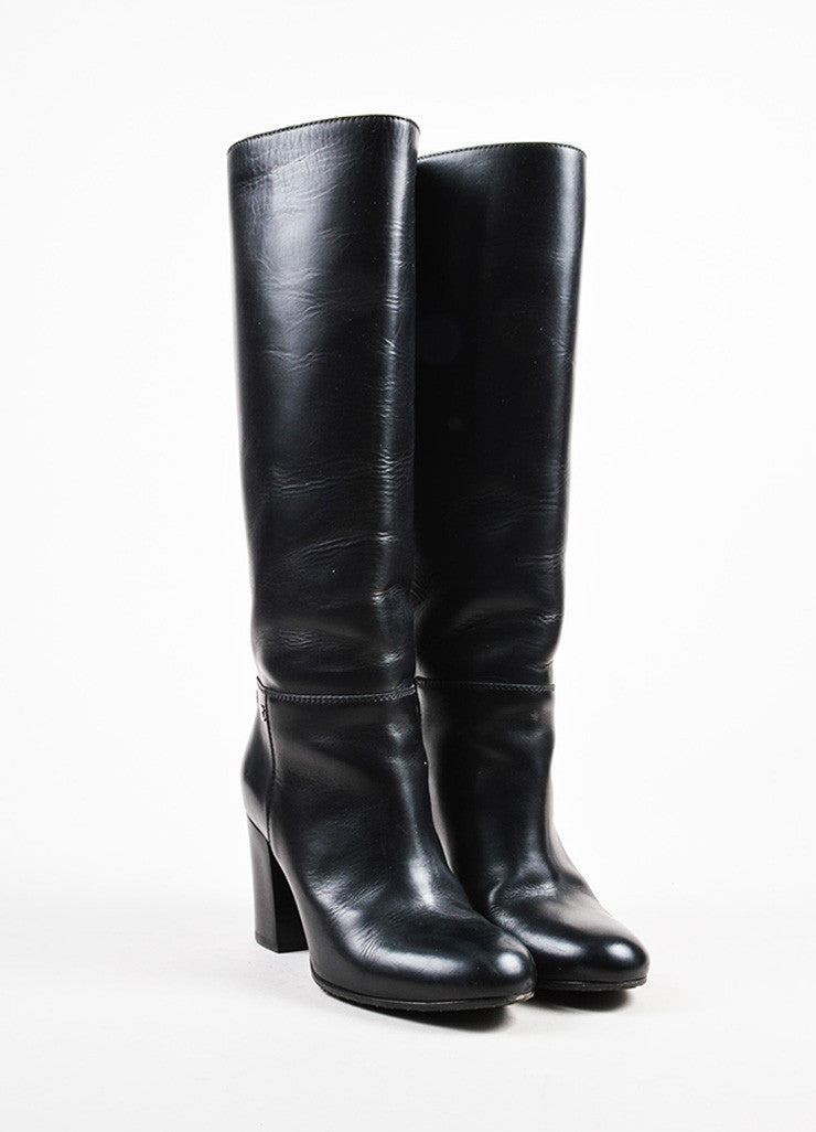 Chanel Black Leather 'CC' Detail Calf High Zipped Riding Boots Frontview