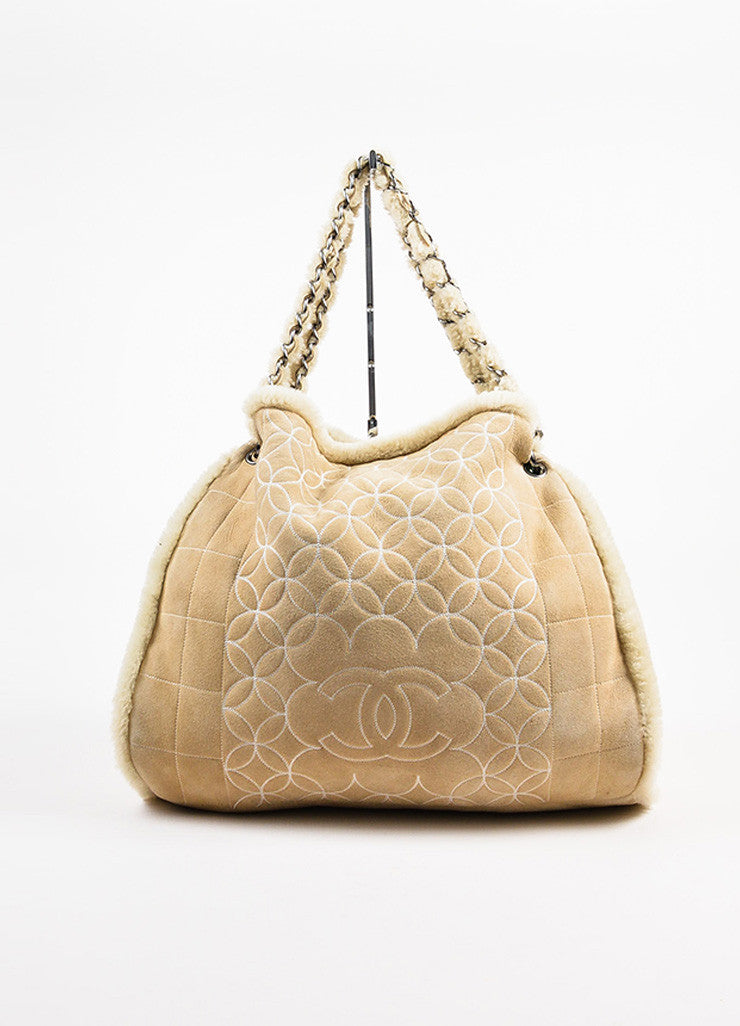 Chanel Beige Quilted Shearling 'CC' Logo Chain Strap Bag Frontview